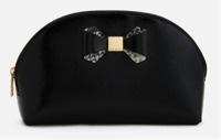 Leather bow trim wash bag
